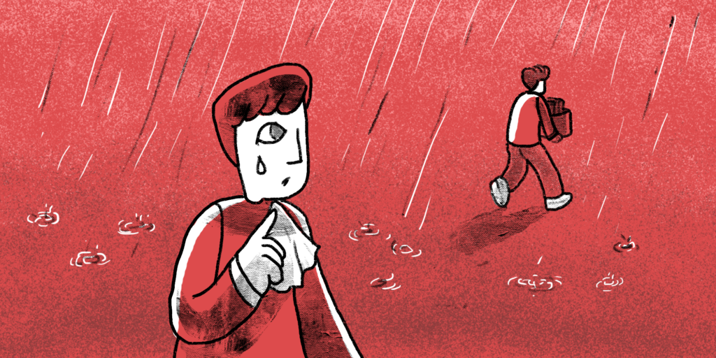 illustration of a man crying in the rain while watching another man walking away bringing all his things in a box