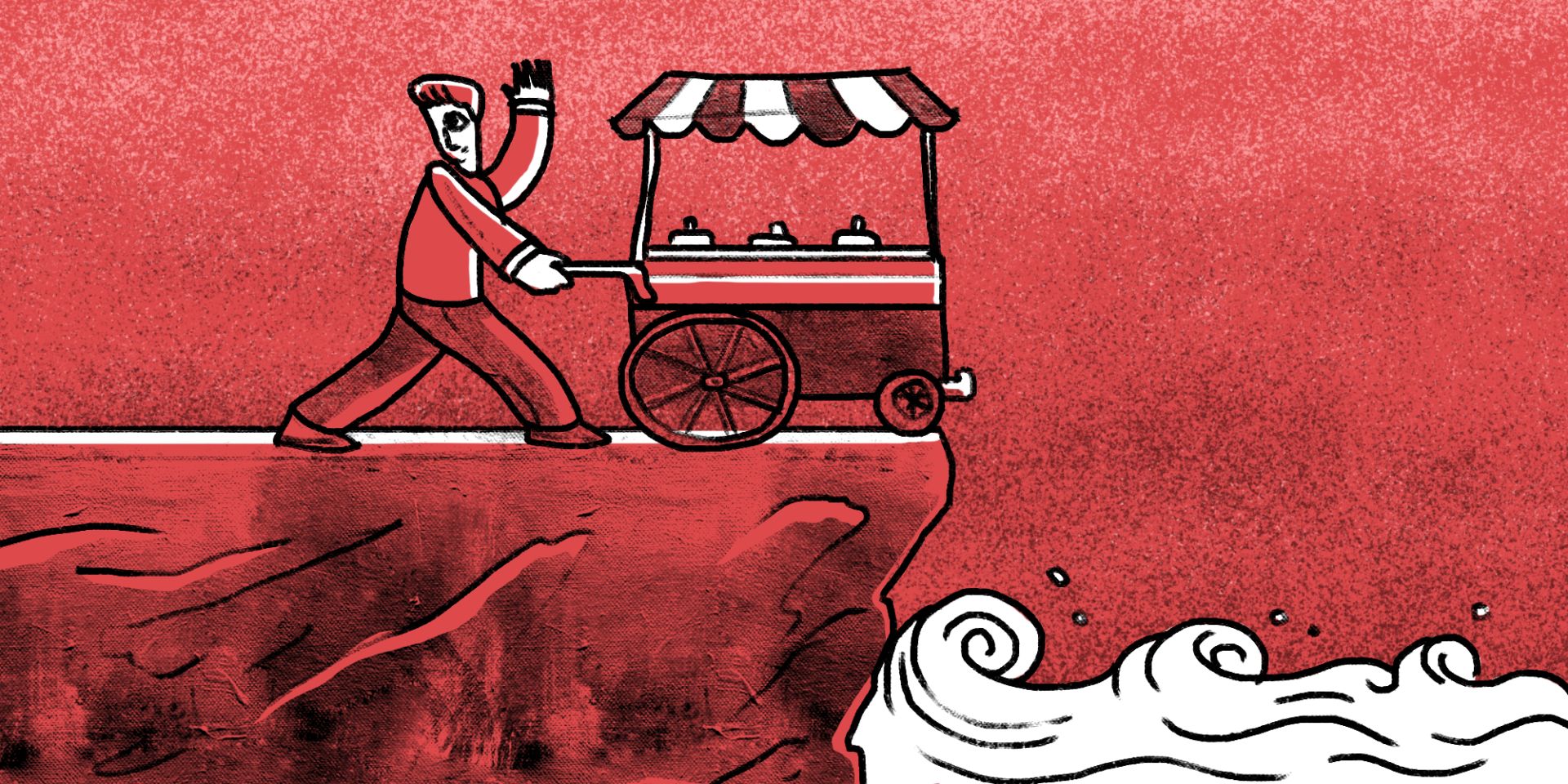 illustration of a man pushing his ice cream cart towards a cliff to the ocean