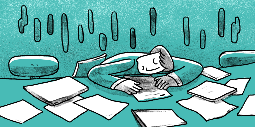 illustration of a man sleeping on his desk surrounded with a lot of documents
