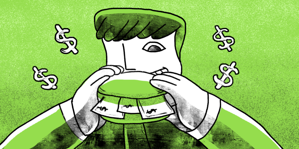 illustration of a man looking hungrily at a sandwich of money he's holding