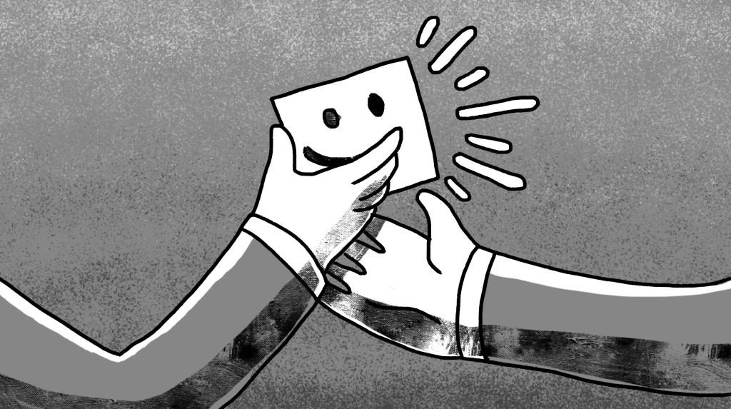 illustration of someone handing another person a paper with a smiley face