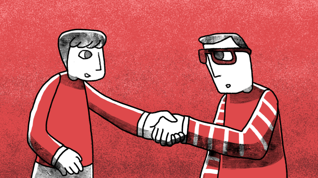 illustration of man wearing glasses shaking another man's hand