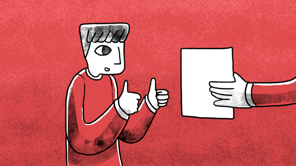illustration of a man giving a two thumbs up to someone showing him a paper