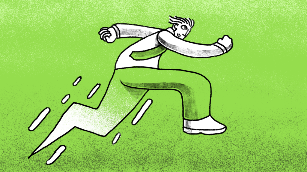 illustration of a man in his office clothes running at lightning speed