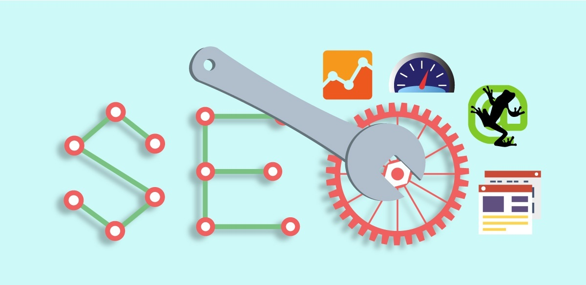 Which SEO audit tool is best main image; wrench fixing the bolt of letter O of SEO line graph and speedometer
