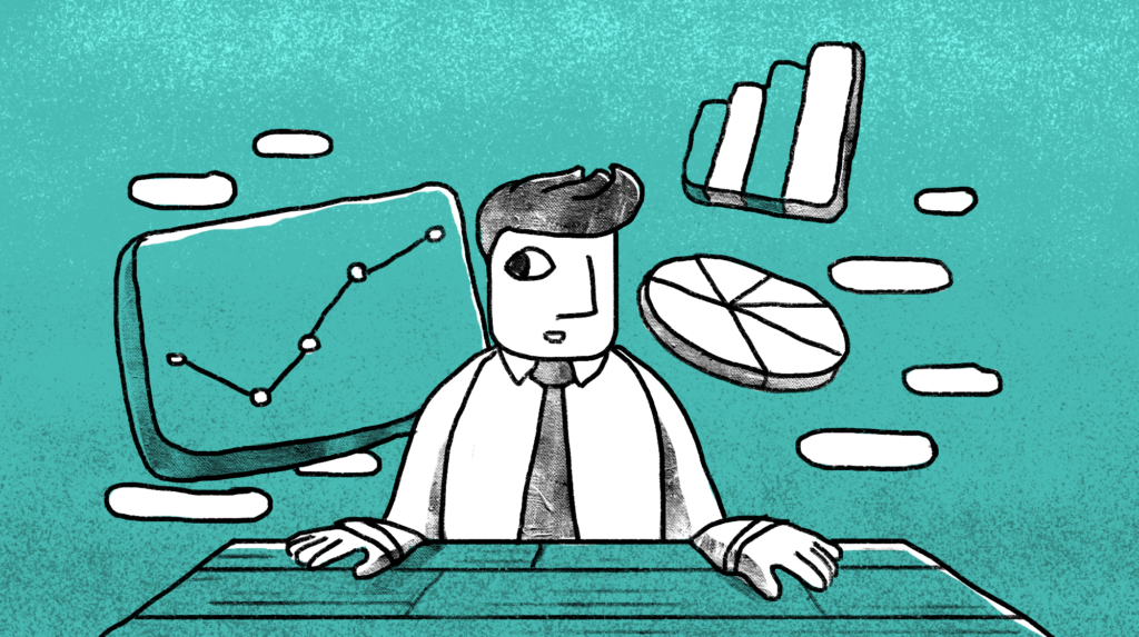 illustration of a man at a table with different charts and graphs floating around him