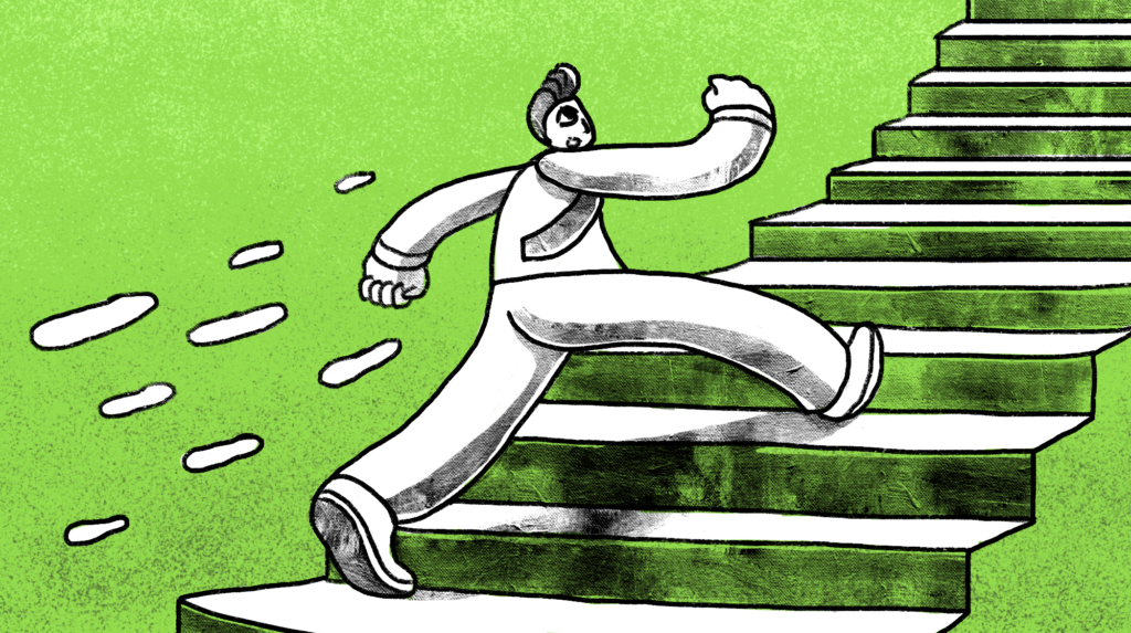 illustration of a man running up the stairs