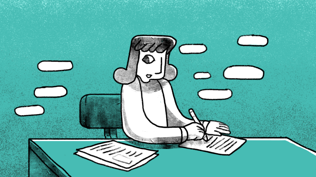 illustration of a woman writing on a couple of pieces of papers