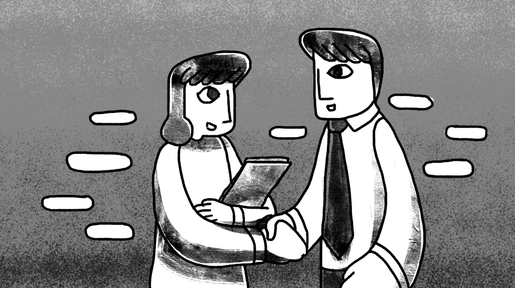 illustration of a man shaking hands with a woman holding a folder in her arm