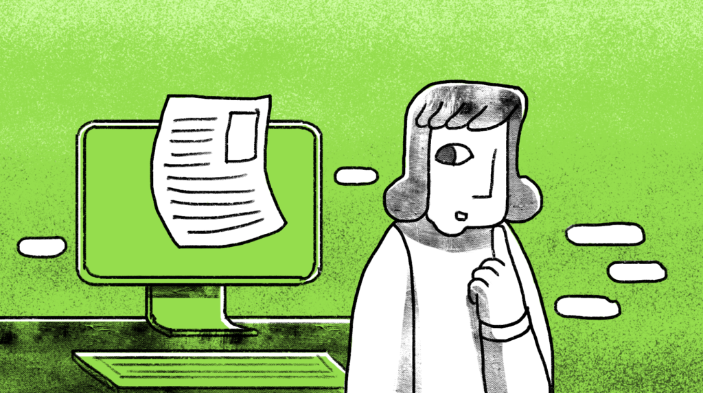 illustration of a woman looking back at her computer monitor with a white paper stuck on it