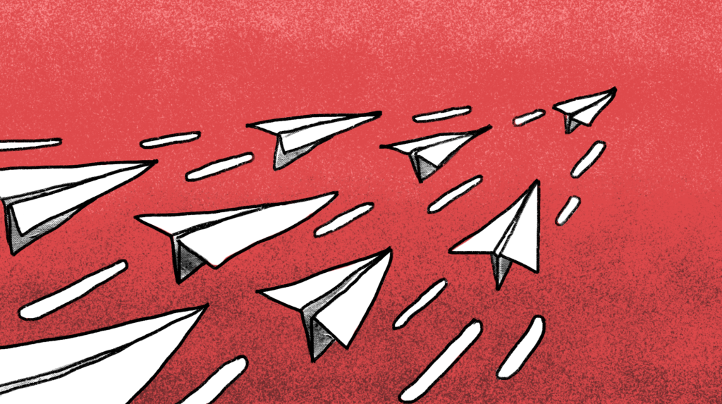 illustration of a couple of paper airplanes flying in one direction