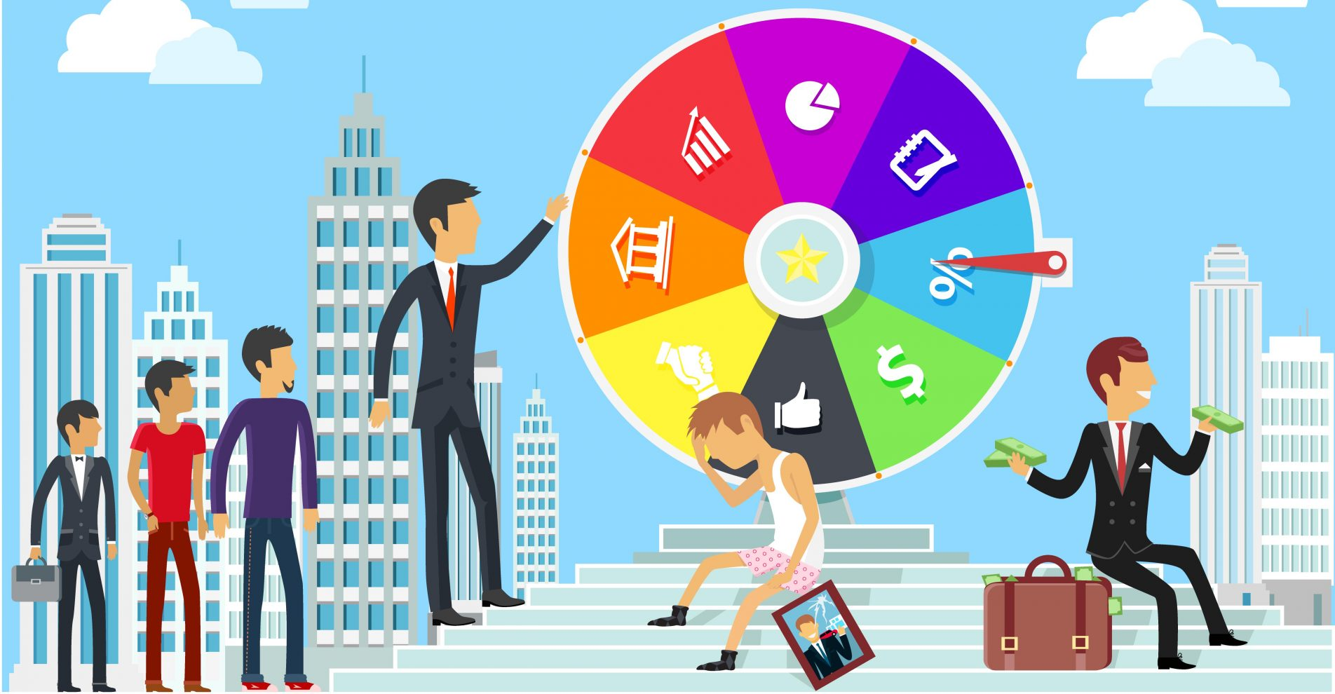 Are you gambling with your Digital Content creation main image; colored wheel with different image choices, man holding his head sitting on the steps another man about to spin the wheel