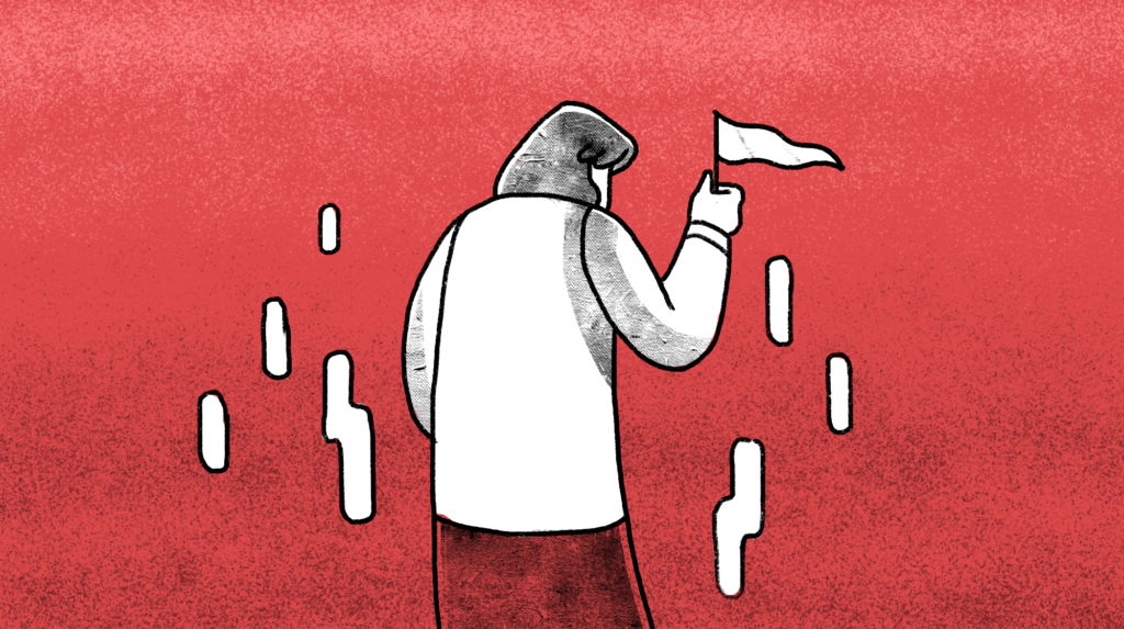 illustration of a woman facing backwards holding a white flag