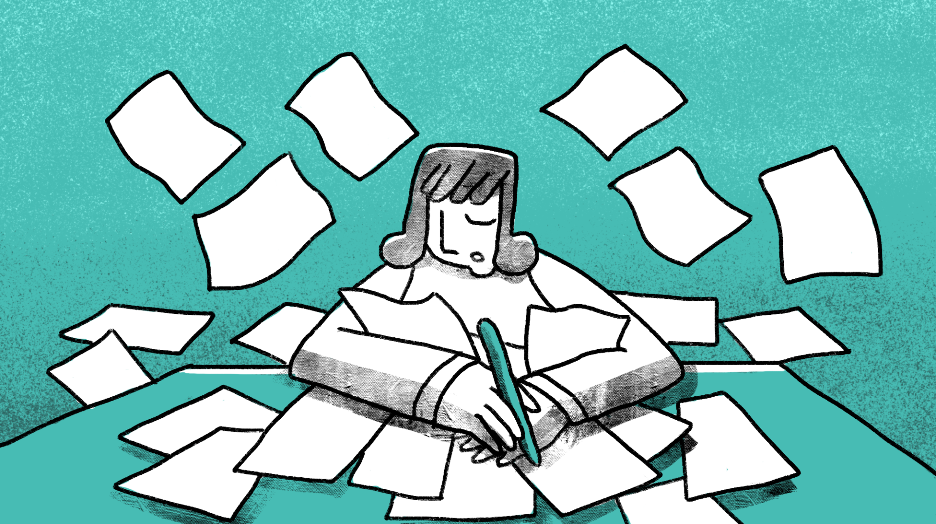 illustration of a woman writing on a lot of papers