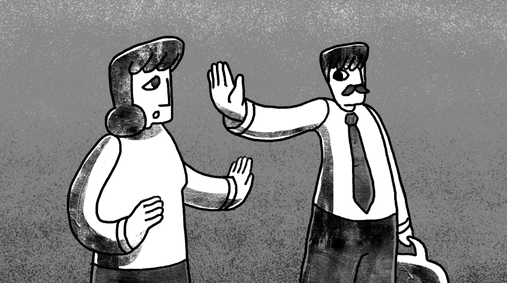 illustration of a man with his arm extended telling a woman to stop