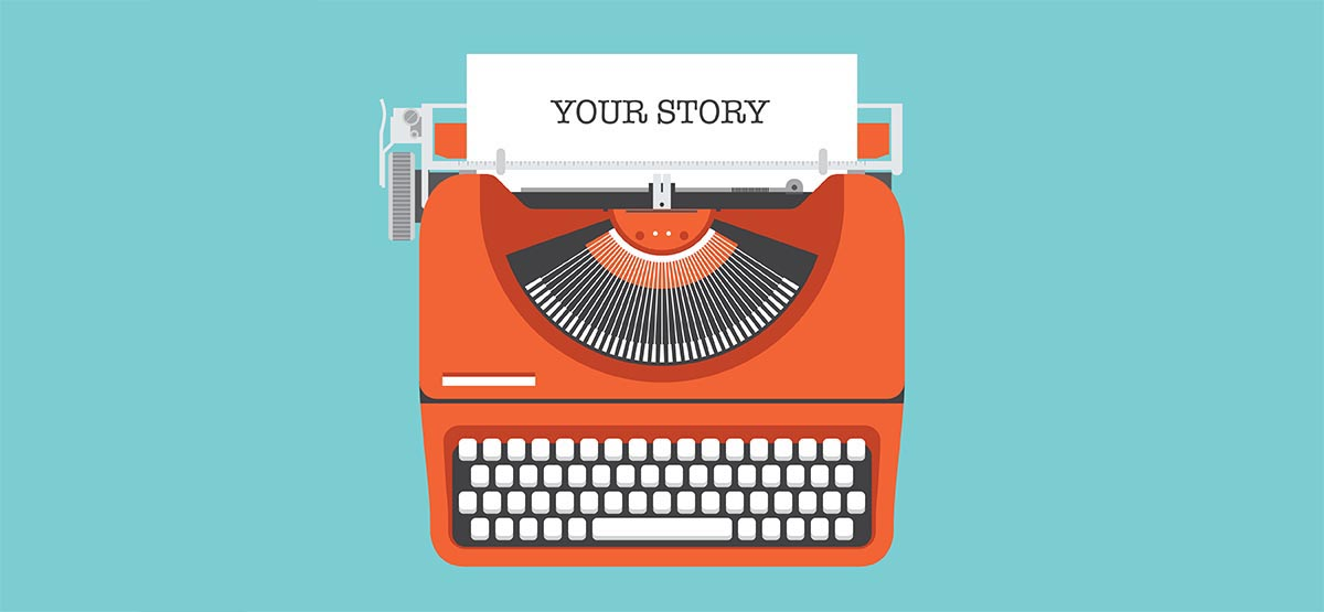 Content Marketing for Life Coaches 101 Case Studies main image; orange typewriter with your story written on paper
