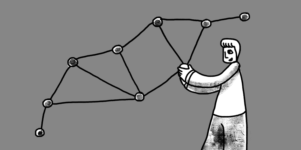 illustration of a man holding a giant molecular structure