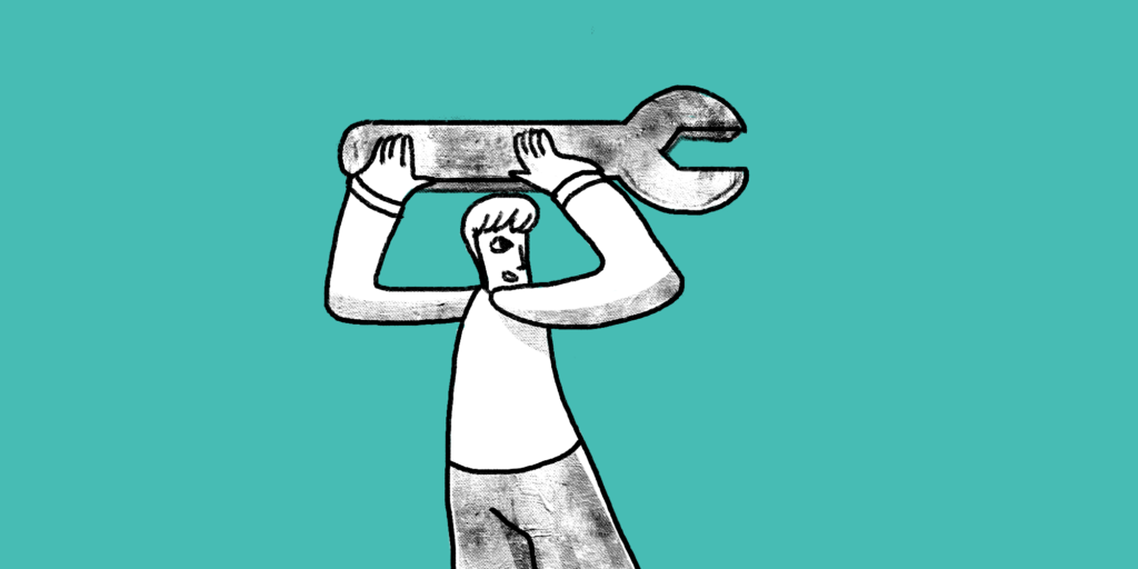 illustration of a man holding up a giant wrench