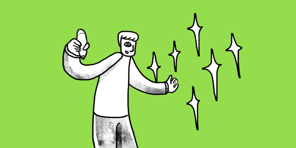 illustration of a man holding a pencil facing some sparkles