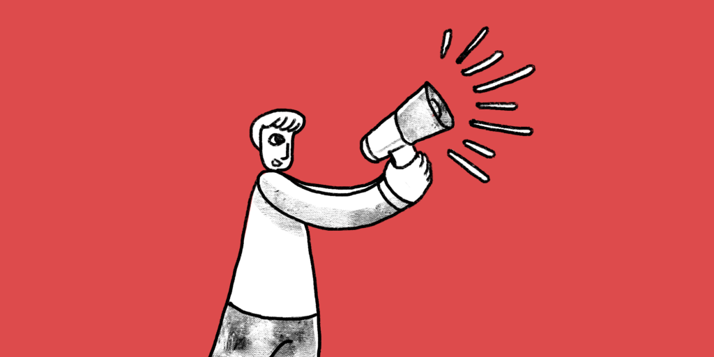 illustration of a man speaking through a megaphone