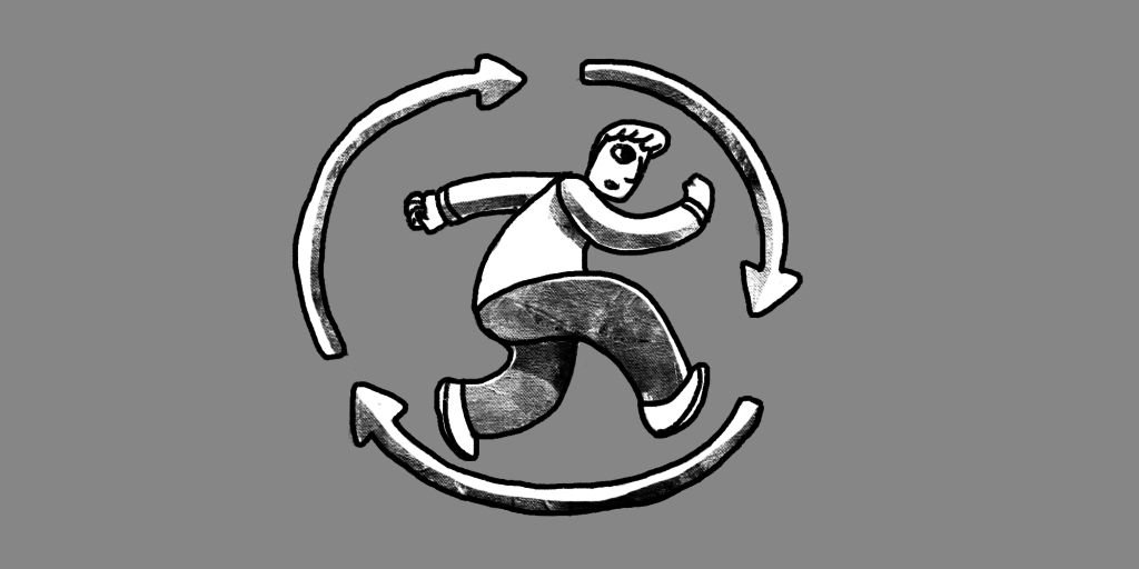 illustration of a man running inside spinning arrows