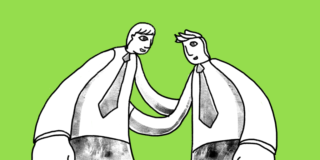 illustration of two men giving each other a pat on the back