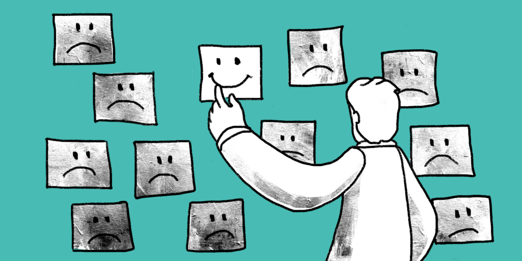 illustration of a man looking at smiley face and sad face pictures on a wall
