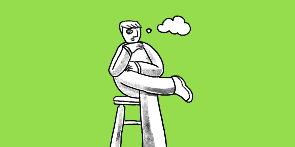 illustration of a man sitting on a stool thinking