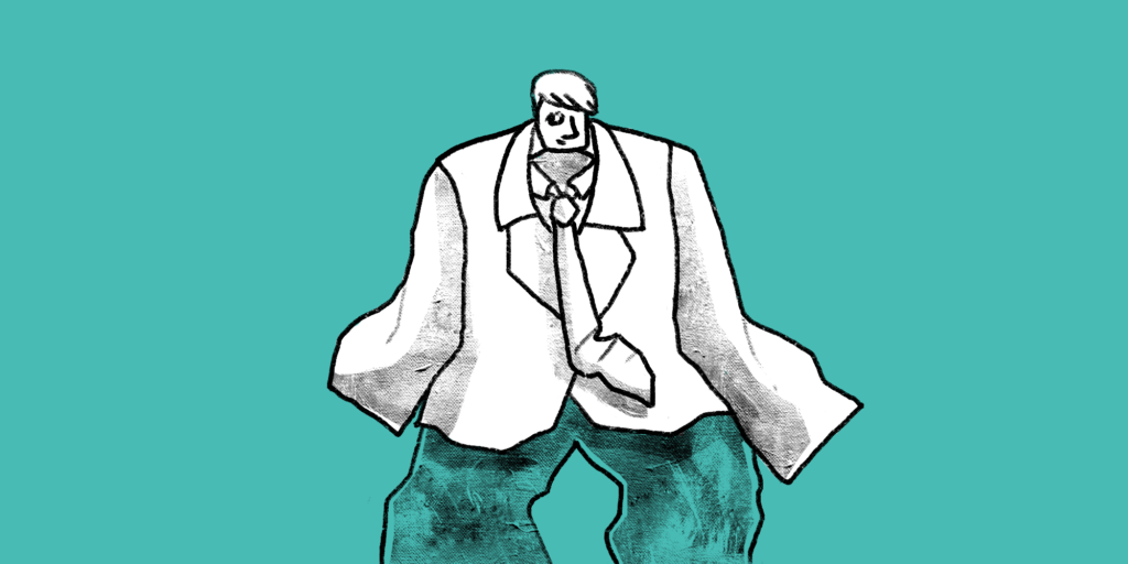 illustration of a man wearing an over sized suit and pants