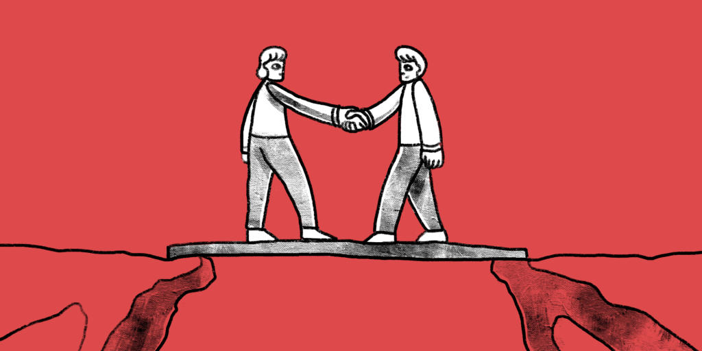 illustration of two people meeting at the middle of a plank bridge shaking hands