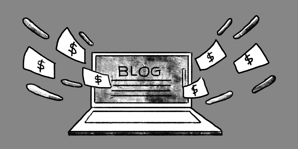 illustration of a laptop with a blog on it's screen and money flying out of it