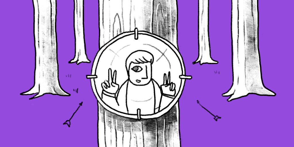 illustration of a picture of a man hung on a tree trunk as a target with arrows flying around and surrounded by other tree trunks