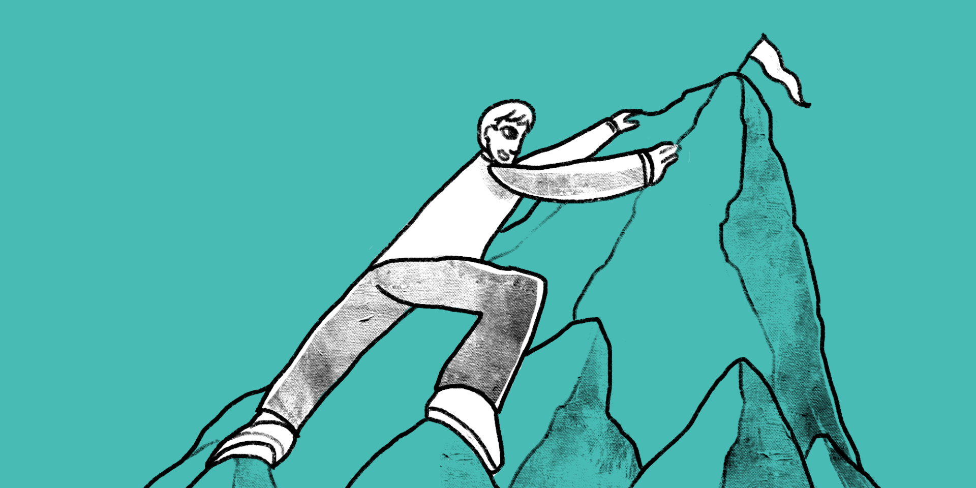 illustration of a man climbing a mountain and about to reach the flag at the peak