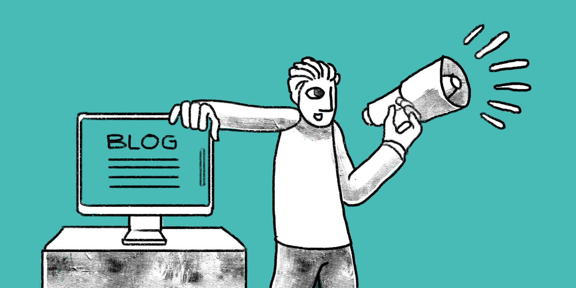 illustration of a man speaking through a megaphone with his hand on a computer monitor showing a blog; Use a blog to supplement all of your marketing efforts main image