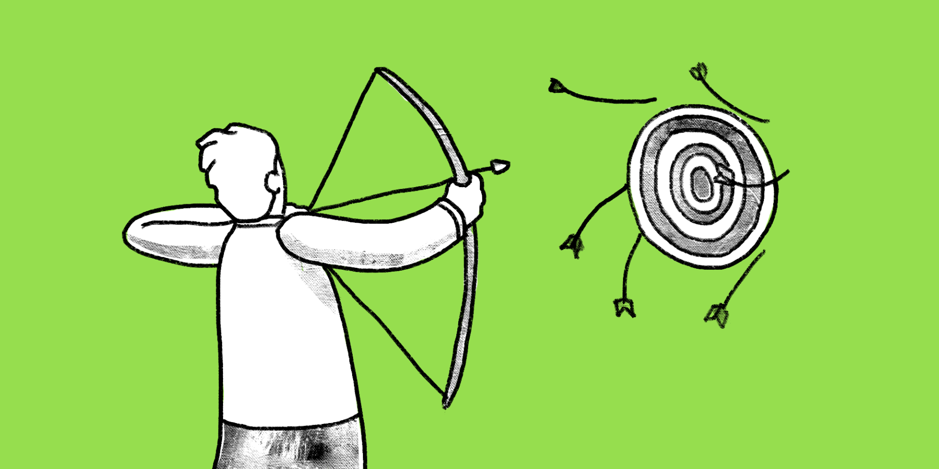 Illustration of a man using a bow to shoot arrows to a target