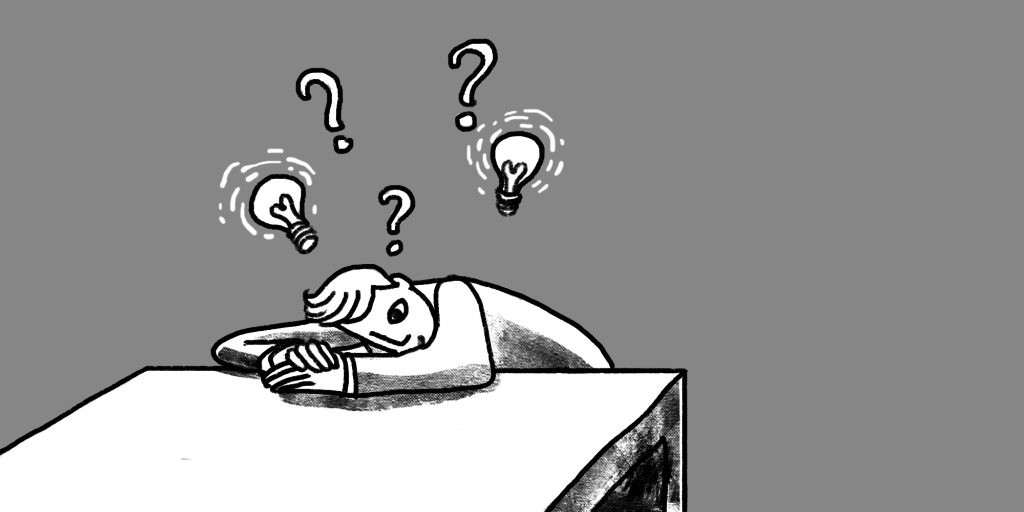 illustration on a man with his head on his desk and question marks and light bulbs above his head Who knows what