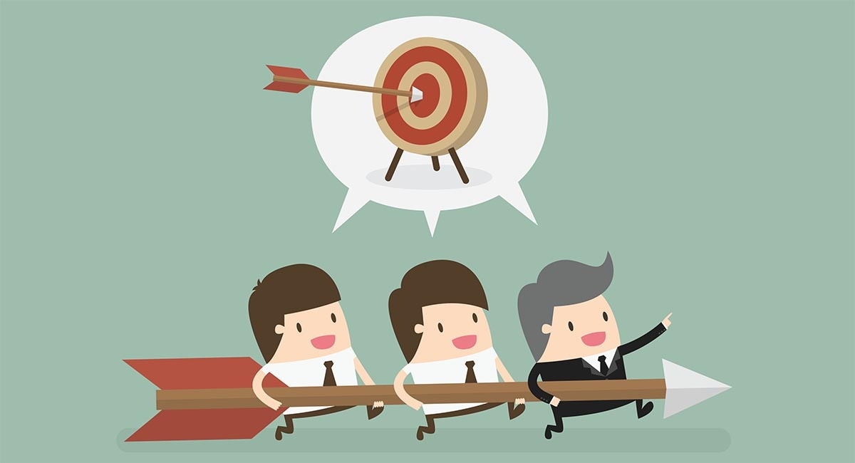 Content marketing strategy main image three men with an arrow aiming for the bullseye