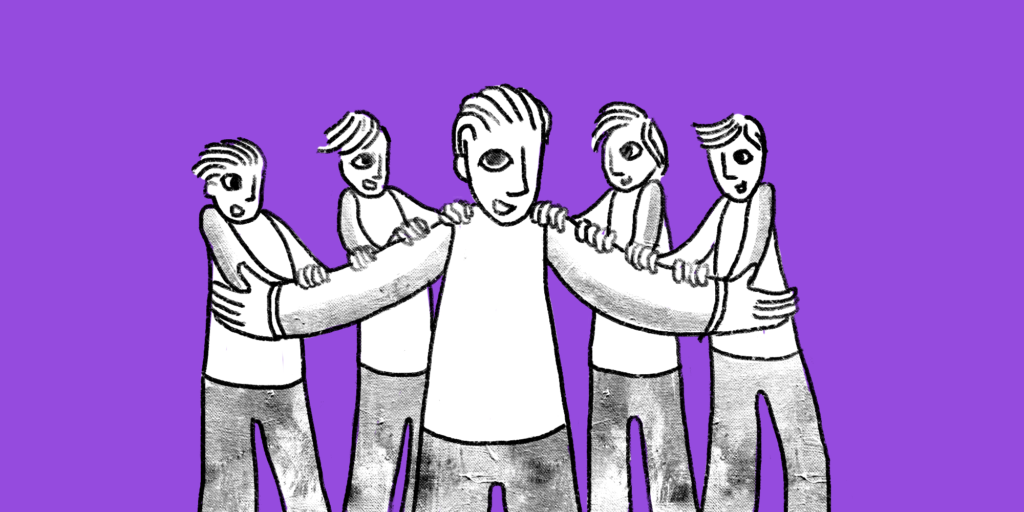Illustration of a man with outstretched arms with two men each holding on to either arm