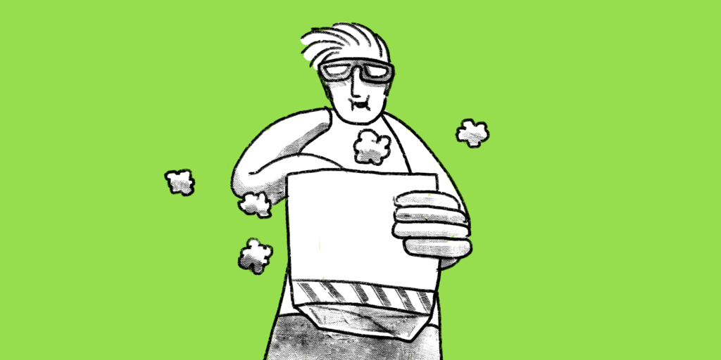 Illustration of a man with 3D glasses eating a bag of popcorn