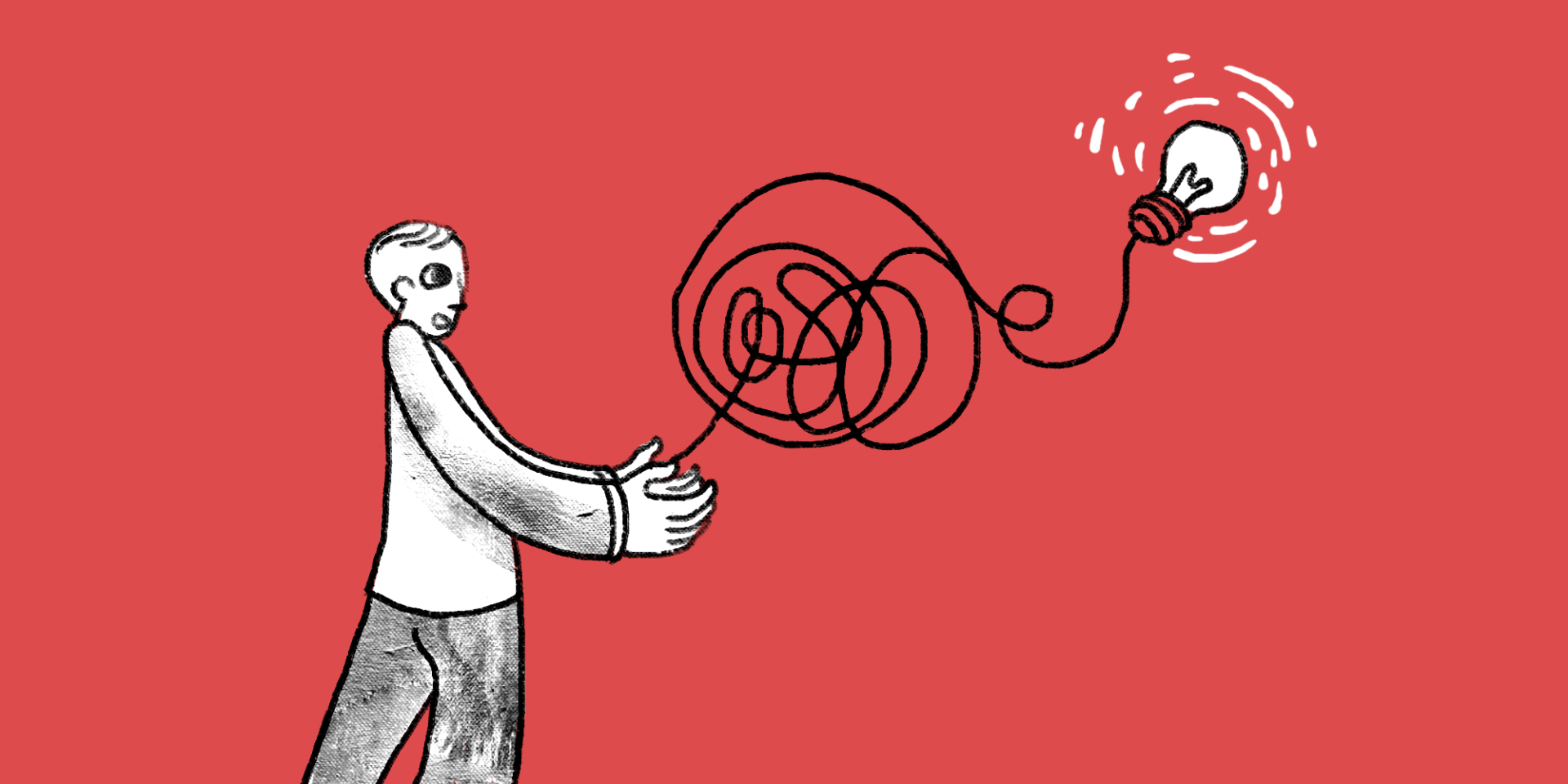 Illustration of a man holding a tangled string with a light bulb at the end 3 steps to creating good content when your product is complicated main image