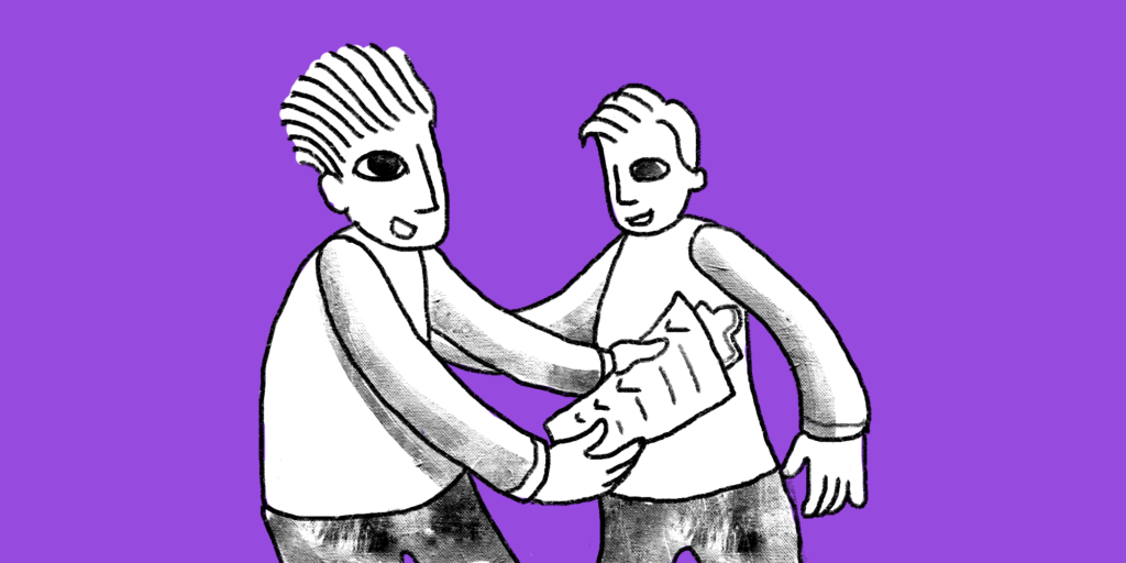 illustration of a man holding a paper and discussing it to another man