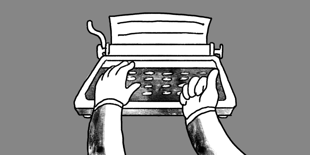 Illustration of two outstretched arms with hands typing on a typewriter