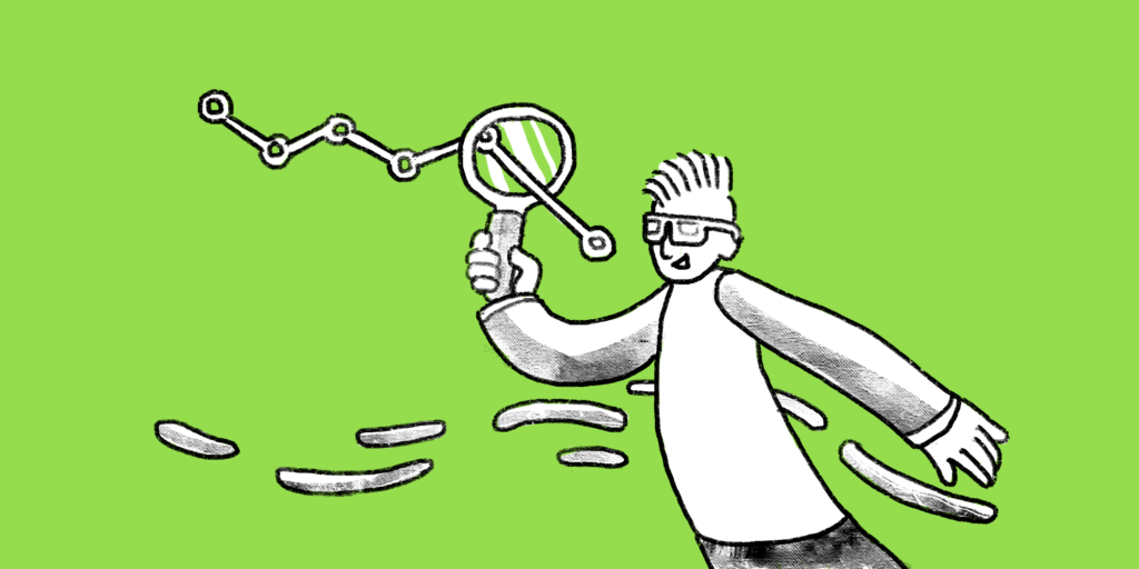 Illustration of a man with glasses holding a magnifying glass with line graph going through it