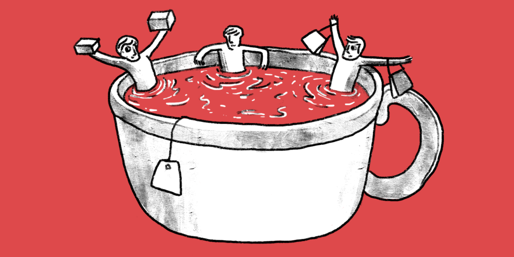illustration of three men soaking themselves in a giant teacup holding some sugar cubes and tea bags