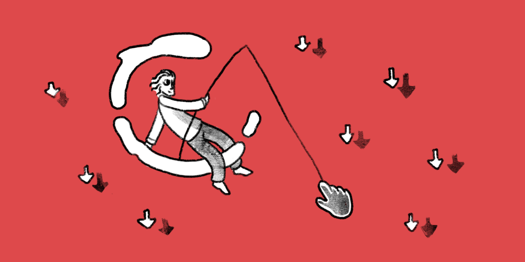 illustration of a man sitting on a crescent moon with a fishing pole that has a hand with an extended index finger caught on his line