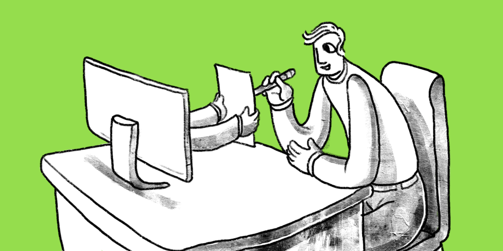 illustration of a man signing a paper from someone with outstretched arms coming out of a computer monitor