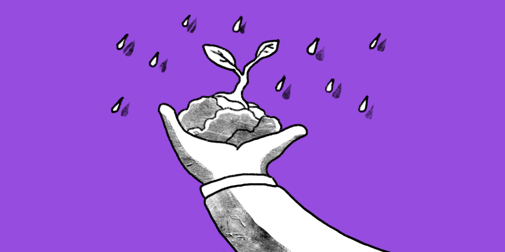 illustration of outstretched arm with hand holding some soil with a seedling while drops of rain are falling