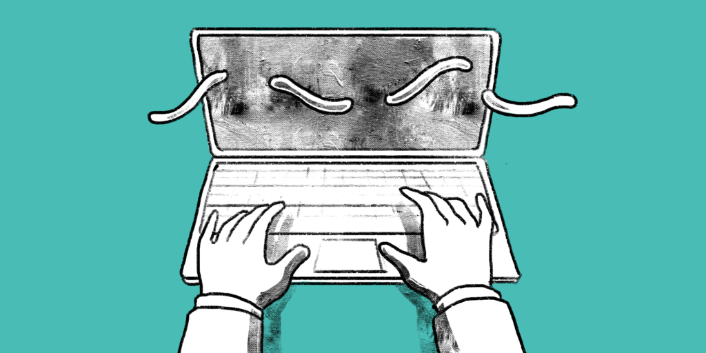 illustration showing hands typing on the keyboard of a laptop with squiggly lines going across the screen