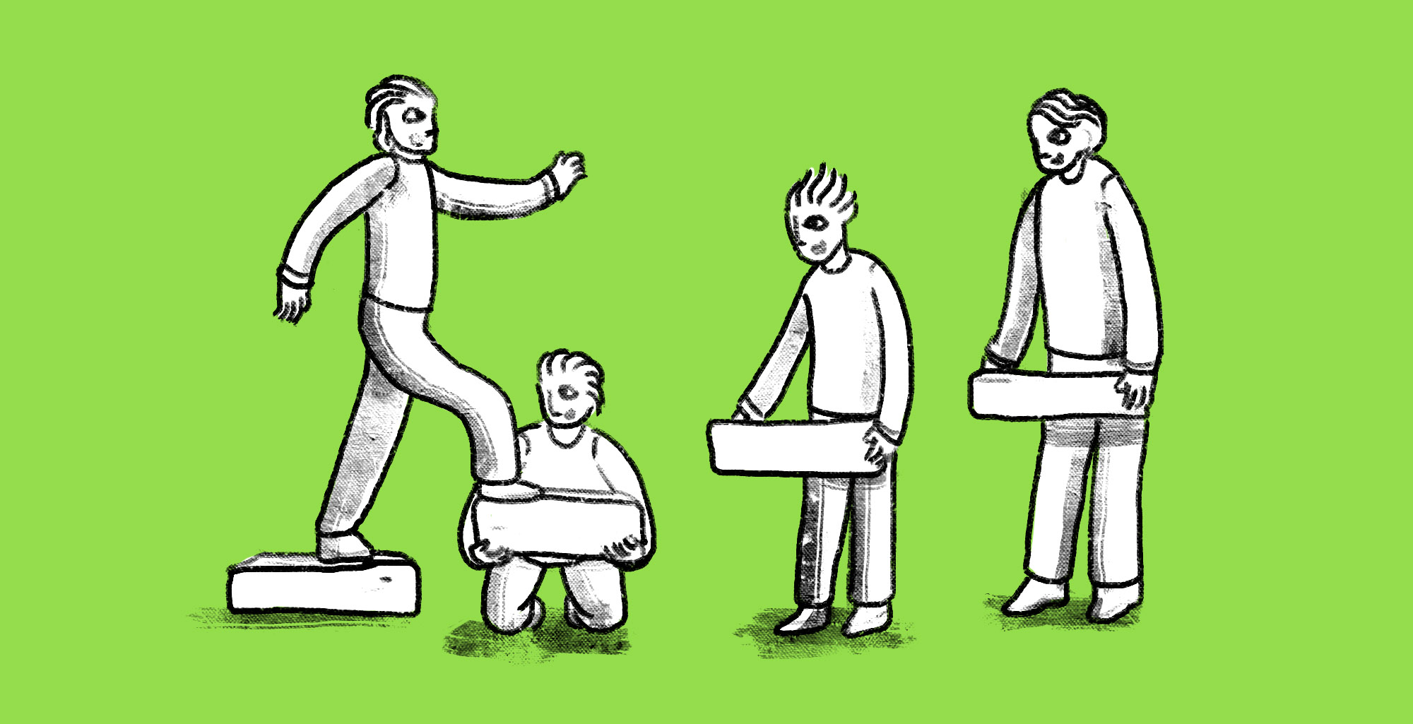 Illustrated man walking up boxes held up by other men; custom illustration