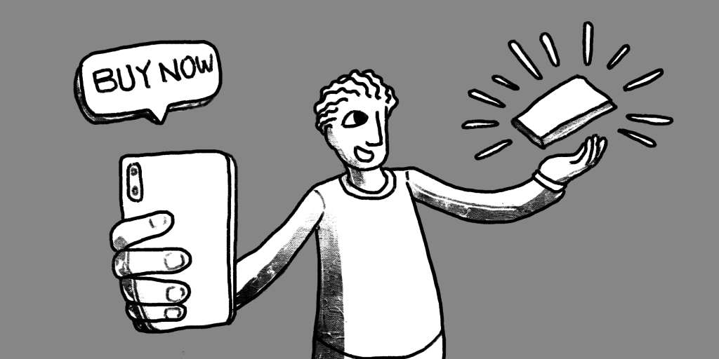 illustration of a man holding a mobile phone that said buy now and his other hand catching a new item